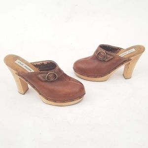 Steve Madden Leather Sandals Wooden Heels Size 8 B